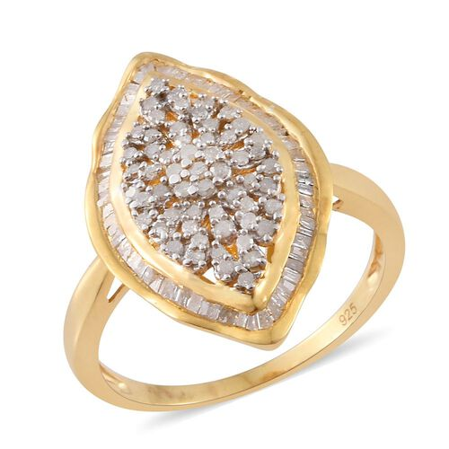 0.75 Ct Diamond Cluster Ring in 14K Gold Plated Sterling Silver 4.89 Grams