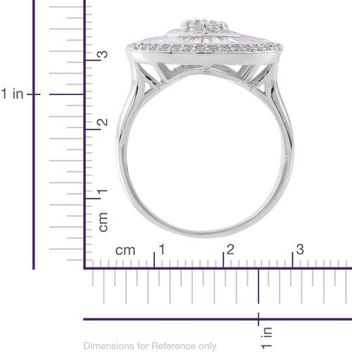 Designer Inspired - ELANZA Simulated White Diamond (Rnd) Ring in Rhodium Plated Sterling Silver, Silver wt 8.00 Gms.