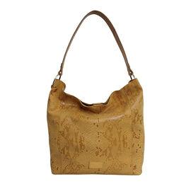 Assots London ESME Genuine Suede Leather Python Print Hobo Bag - Mustard