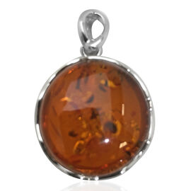 Signature Collection- Baltic Amber (Rnd 25.00mm) Pendant in Sterling Silver 35.00 Ct. Silver wt 5.20 Gms.