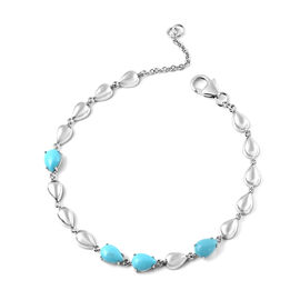 LucyQ Arizona Sleeping Beauty Turquoise Drop Bracelet (Size - 7.5) in Rhodium Overlay Sterling Silve