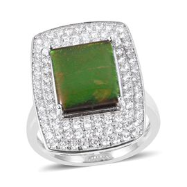 AA Canadian Ammolite (Bgt 3.50 Ct), Natural White Cambodian Zircon Ring in Rhodium Overlay Sterling Silver 5.150 Ct.