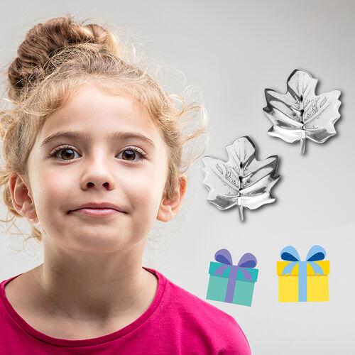 Maple Leaf Earrings for Kids in Sterling Silver