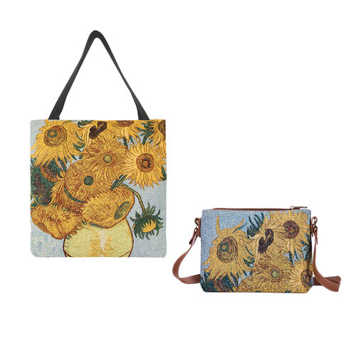 Signare Tapestry - 2 Piece Set - Van Gogh Artwork Sunflower Crossbody Bag (33x8x34cm) and Gusset Bag