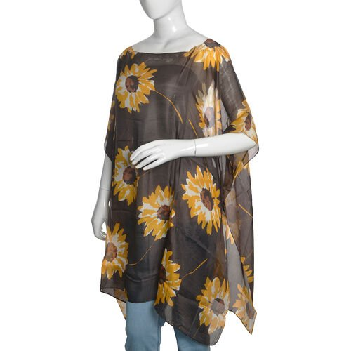 100% Mulberry Silk Chocolate, Yellow and White Colour Handscreen Sunflower Printed Kaftan (Free Size)
