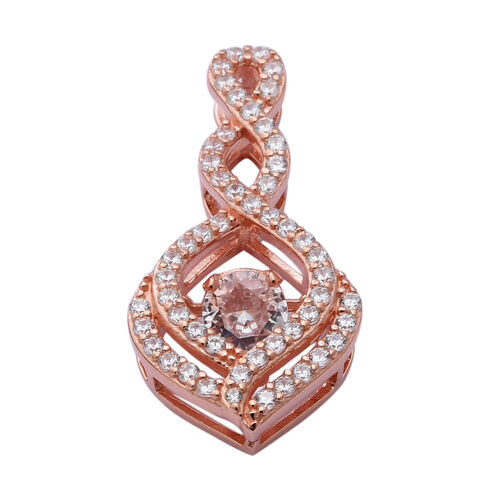 ELANZA AAA Simulated Diamond Pendant in Rose Gold Overlay Sterling Silver