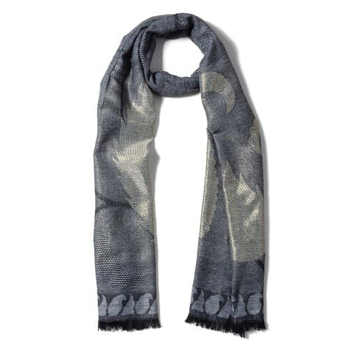 One Time Close Out Deal- Golden and Black Colour Scarf with Bamboo Shoot Pattern (Size 180x68 Cm)
