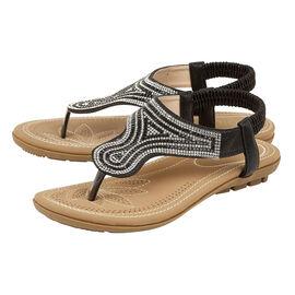 Lotus Black Delia Flat Toe-Post Sandals
