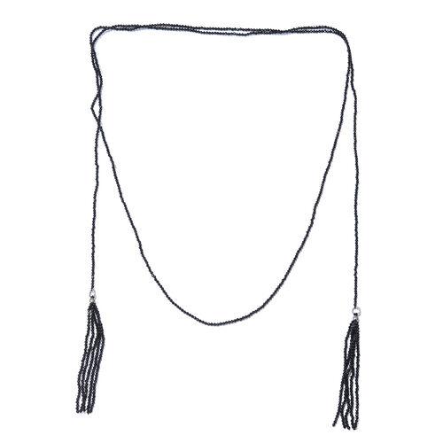 Designer Inspired-Boi Ploi Black Spinel (Rnd) Endless Necklace (Size 50) in Platinum Overlay Sterlin
