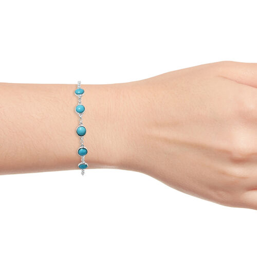 Arizona Sleeping Beauty Turquoise (Rnd) Bracelet (Size 6.5 - 7.5) in Sterling Silver 3.850 Ct.