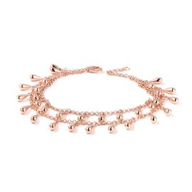 LucyQ Rose Gold Overlay Sterling Silver Two Layer Drip Bracelet (Size 8), Silver wt 18.70 Gms.