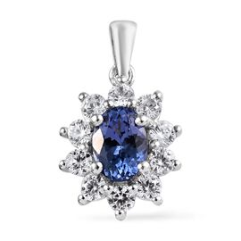 1.75 Ct Tanzanite and Zircon Halo Pendant in Platinum Plated Sterling Silver