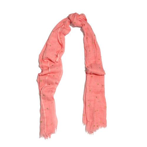 Epic Deal 100% Cotton Salmon Pink Colour Polka Dots Foil Printed Scarf (Size 180x100 Cm)
