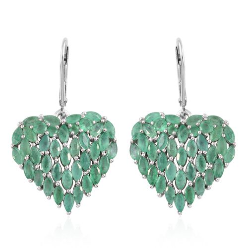 Designer Inspired Kagem Zambian Emerald (Mrq) Heart Lever Back Earrings in Platinum Overlay Sterling