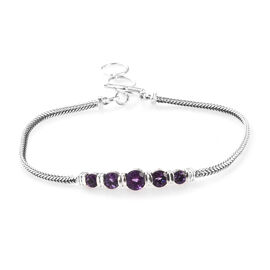 Amethyst Bracelet (Size 8 with Extender) in Sterling Silver 1.68 Ct, Silver wt 7.00 Gms