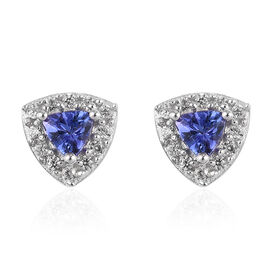 AAA Tanzanite and Natural Cambodian Zircon Earrings (with Push Back) in  Platinum Overlay Sterling S