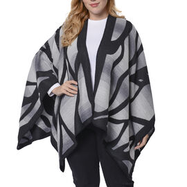 Black and Grey Colour Raised Grain Pattern Blanket Kimono (Size 133x70 Cm)