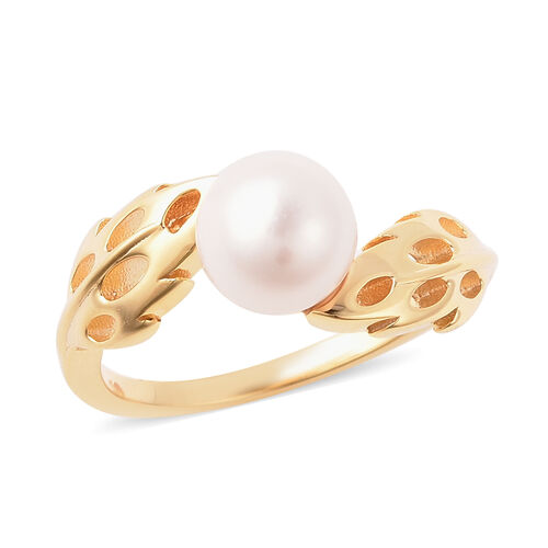 RACHEL GALLEY - Freshwater White Pearl Latticework Feather Ring in Yellow Gold Overlay Sterling Silv
