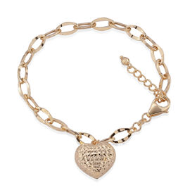 Royal Bali Collection 9K Yellow Gold Oval Link Bracelet (Size 8) with Heart Charm, Gold wt 4.07 Gms.