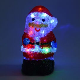 Santa Decorative Lamp with Multicolour Light (Size 20x10 Cm) (3xAA Battery not Included) - Red and B