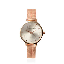 DIAMOND & CO LONDON - Diamond Studded Watch with Mesh Style Strap - Rose Gold Tone