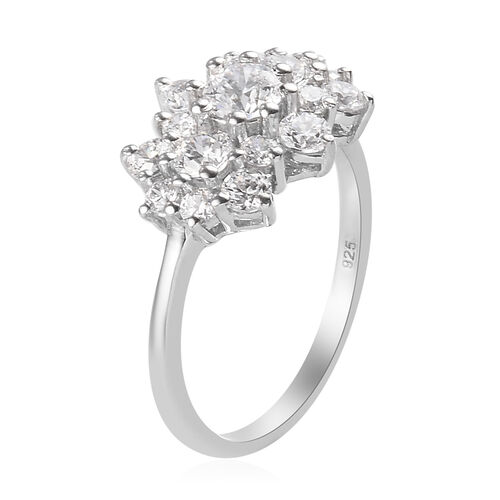 J Francis - Platinum Overlay Sterling Silver Cluster Ring Made with SWAROVSKI ZIRCONIA 2.35 Ct.