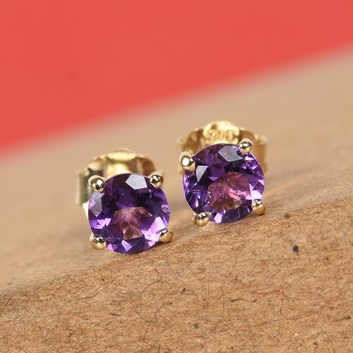 9K Yellow Gold AA Moroccan Amethyst Stud Earrings (with Push Back) 0.50 Ct.