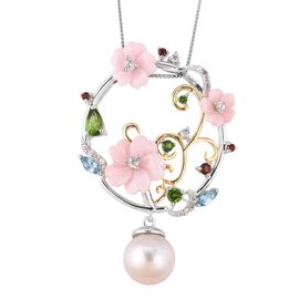 Jardin Collection - Pink Mother of Pearl, Freshwater Pearl and Multi Gemstone Floral Pendant With Ch