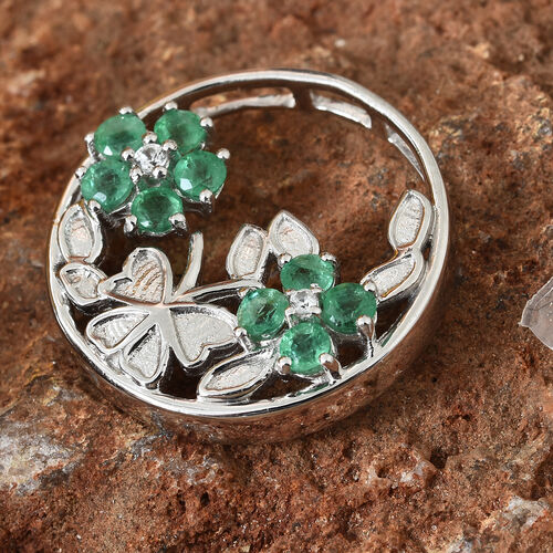 Kagem Zambian Emerald (Rnd), Natural Cambodian Zircon Floral Pendant in Platinum Overlay Sterling Silver 1.000 Ct, Silver wt 5.00 Gms