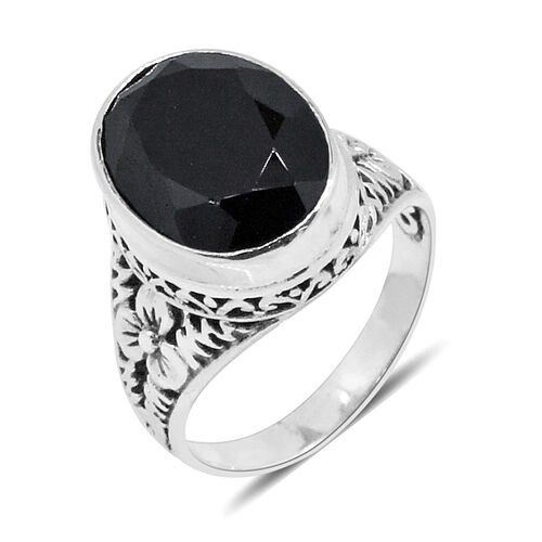 Royal Bali Collection Boi Ploi Black Spinel (Ovl) Ring in Sterling Silver 10.303 Ct. Silver wt. 5.50 Gms.