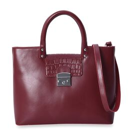 100% Genuine Leather Tote Bag with Detachable Shoulder Strap and External Zipper Pocket (Size 36x12x