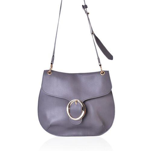 Grey Colour Crossbody Bag with Adjustable Shoulder Strap (Size 29X25 Cm)