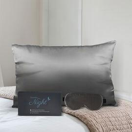 2 Piece Set - 100% Mulberry Silk Pillowcase (50x75cm) and Eye Mask (23.5x10.5cm) - Dark Grey
