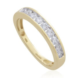 ILIANA 18K Yellow Gold IGI Certified Diamond (Rnd) (SI-GH) Half Eternity Band Ring 0.500 Ct.