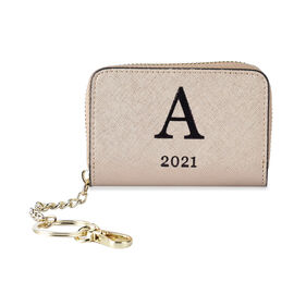 Genuine Leather Alphabet A Wallet with Engraved Message on Back Side (Size 11X7.5X2.5 Cm) - Gold