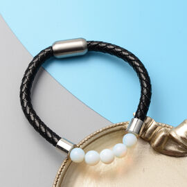 Opalite Genuine Leather Bracelet (Size - 8) with Magnetic Lock in Stainless Steel 15.50 Ct.