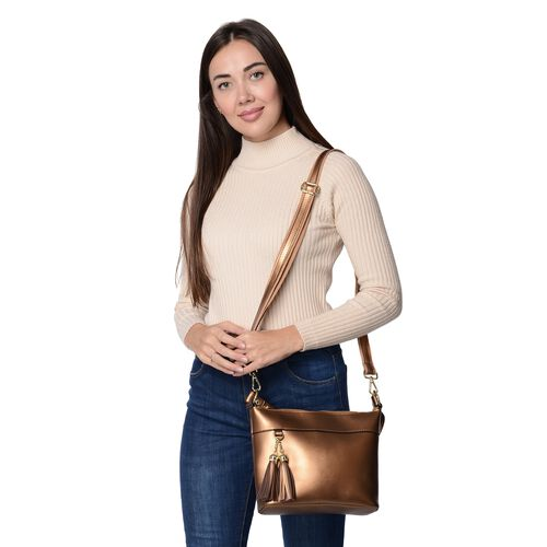 100% Genuine Leather Crossbody Bag with Detachable Strap and External Zipper Pocket (Size 23x7.5x20 Cm) - Golden