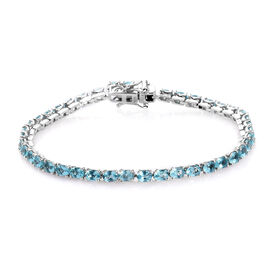 Blue Apatite Tennis Bracelet (Size 7.0) in Platinum Overlay Sterling Silver 8.00 Ct, Silver wt. 7.75