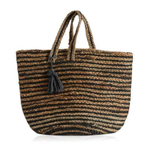 100% Handmade Jute Collection Black and Neutral Colour Stripes Pattern Bag with Tassel (Size 45x37x31x23 Cm)