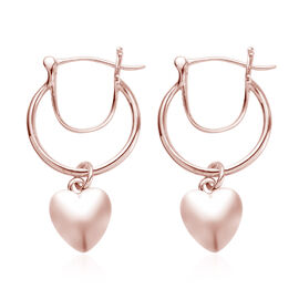 Rose Gold Overlay Sterling Silver Heart Charm Earrings (with Fancy Clasp)