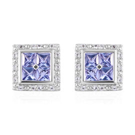 Tanzanite (Sqr), White Topaz Earrings in Platinum Overlay Sterling Silver 1.365 Ct.