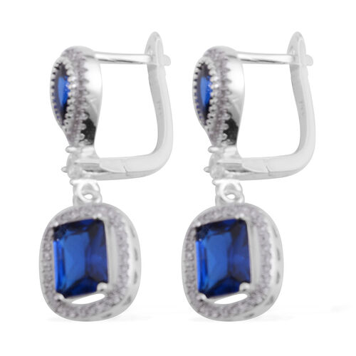 Brilliant Cut ELANZA AAA Simulated Sapphire (Oct), Simulated Diamond Earrings (with Clasp Lock) in Rhodium Plated Sterling Silver.Stone Studded 124