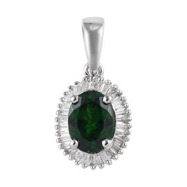 RHAPSODY 950 Platinum AAAA Tsavorite Garnet (Ovl 7x5 mm) and Diamond (VS/E-F) Pendant 1.00 Ct.