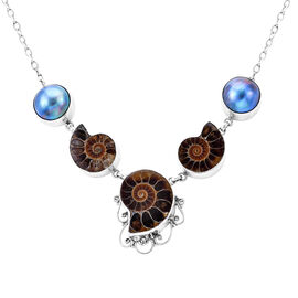 Royal Bali Collection Ammonite Fossil and Blue Mabe Pearl Necklace in Silver 33 Grams 20 Inch