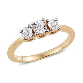 Diamond (Rnd) 3 Stone Ring in 14K Gold Overlay Sterling Silver