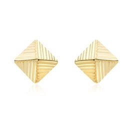JCK Vegas Collection 9K Yellow Gold Pyramid Stud Earrings (with Push Back)