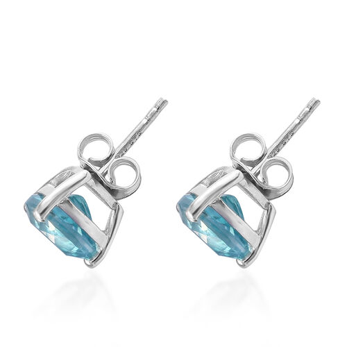 One Time Deal - Signity Paraiba Topaz (Trl) Stud Earrings (with Push Back) in Platinum Overlay Sterling Silver 4.500 Ct.