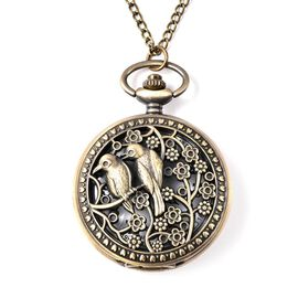 Set of 2 - STRADA Japanese Movement Bird Pattern Pocket Watch with Chain (Size 31) in Antique Bronze
