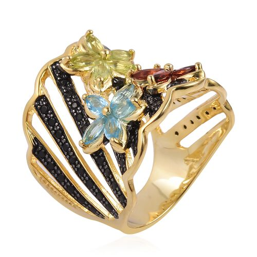 Designer Inspired Mozambique Garnet (Mrq), Swiss Blue Topaz, Hebei Peridot and Boi Ploi Black Spinel Flower Ring in Black and Yellow Gold Overlay Sterling Silver 3.210 Ct. Silver wt 9.43 Gms.