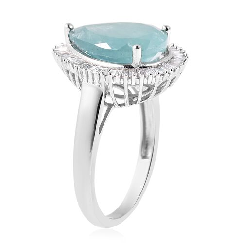 9K White Gold AA Grandidierite (Pear 14x10 mm), Diamond Ring 5.705 Ct.